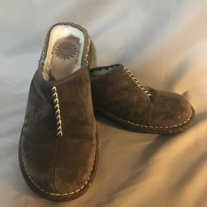 Ugg mule clogs brown suede stitched